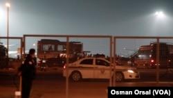 Xe cảnh sát tại sân bay Sabiha Gokcen, 7/2/2014