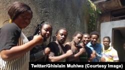 Des membres du mouvement citoyen Lucha (Lutte pour le changement) après leur libération à Goma, dans le Nord-Kivu, le 1er mars 2019. (Twitter/Ghislain Muhiwa)
