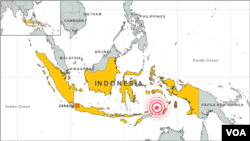 Location of earthquake near Saumlaki, Indonesia, December 10, 2012.
