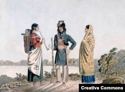 A Métis man and his two wives, artist unknown, circa 1825-1826
