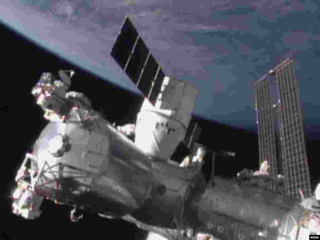 The SpaceX Dragon cargo spacecraft was berthed to the Harmony module of the International Space Station at 8:54 a.m. EST on Jan. 12, 2015.