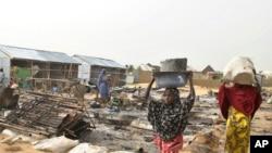 Des déplacés dans un camp à Maiduguri, Nigeria, le 8 juin 2017.