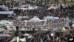 埃及反政府抗议活动继续在开罗解放广场进行