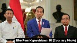 Presiden Joko Widodo saat menyampaikan pernyataan terkait Rohingya di Istana Kepresidenan Jakarta, Minggu 3 Sept 2017.(Foto : Biro Pers Kepresidenan RI)