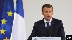 El presidente francés Emmanuel Macron da un discurso durante una ceremonia nacional. Septiembre 19, 2018.