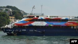 The Sea Smooth ferry with its bow badly damaged sits docked at the Lamma Island pier following a collision with the Lamma IV boat in Hong Kong, October 2, 1012.