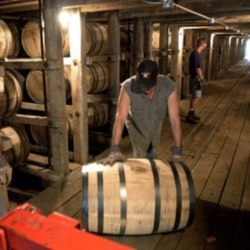 Workers move barrels of Jack Daniel's whiskey in one of the warehouses at the famous distillery in Lynchburg, Tennessee