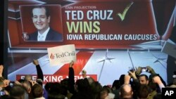 Senator Ted Cruz mengalahkan Donald Trump dalam kaukus di negara bagian Iowa hari Senin (1/2).
