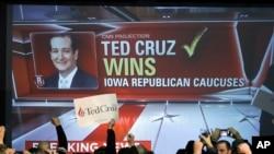 Simpatizantes de Ted Cruz celebran su triunfo en el caucus de Iowa.