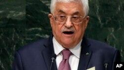 26일 마흐무드 압바스 팔레스타인 자치정부 수반이 제 69차 유엔 총회에서 연설하고 있다.