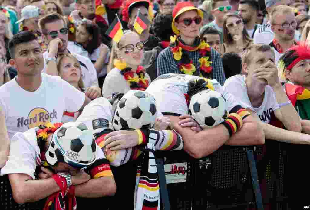 Güney Kore ile Almanya'nın karşılaştığı 2018 Dünya Kupası'nda Alman taraftarlar fotoğrafa böyle yansımış.