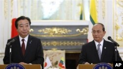 日本首相野田佳彦和缅甸总统吴登盛4月21日在东京举行联合记者会