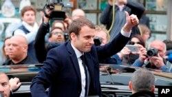 Emmanuel Macron, arrivé en tête du premier tour de la présidentielle française, le 23 avril 2017.