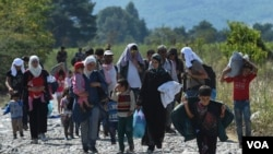 移民们在马其顿的难民营里(2015年9月11日)