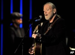 FILE - Gregg Allman performs at the Americana Music Association Awards show in Nashville, Tennessee, Oct. 13, 2011.