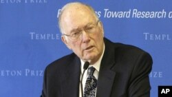 FILE - Charles Townes speaks after winning the Templeton Prize in New York, March 9, 2005