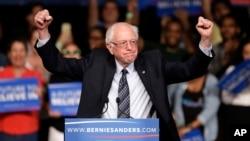 미국 민주당의 버니 샌더스 대선 후보가 8일 마이애미에서 열린 유세에서 지지자들의 환호에 답하고 있다. 샌더스 후보는 이 날 미시건 주 경선에서 승리했다.