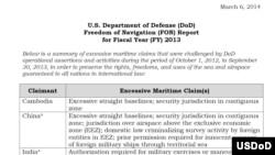 美国国防部2013财年航行自由报告有关中国等国家的总结