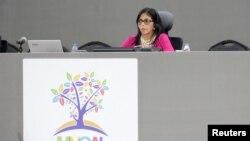 La canciller de Venezuela, Delcy Rodríguez fue la encargada de dar la bienvenida a los ministros y representantes de 120 países.