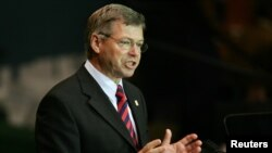 Kjell Magne Bondevik addresses the 2005 World Summit during the 60th General Assembly of the United Nations in New York, September 16, 2005.