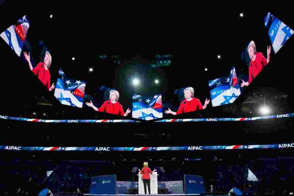 Vaşinqton - Prezidentliyə Demokrat namizəd Hillari Klinton Verizon mərkəzində