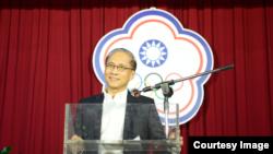 台湾行政院院长2017年7月5日在中华奥会会徽前发表讲话 (台湾行政院照片)