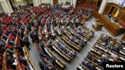 Ukrainian legislators attend a parliament session in Kyiv, Ukraine, March 29, 2016.