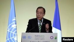 Ban Ki-moon au Bourget, France, le 5 décembre 2015.