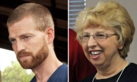 FILE - A combination photo shows Dr. Kent Brantly, left, and Nancy Writebol. Brantly and Writebol had contracted Ebola virus while in West Africa, were flown to Emory University Hospital in Atlanta. Both recovered and were released this week.