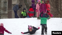 Trẻ em chơi trong Công viên Central Park tại Manhattan, New York, ngày 26/1/2015.