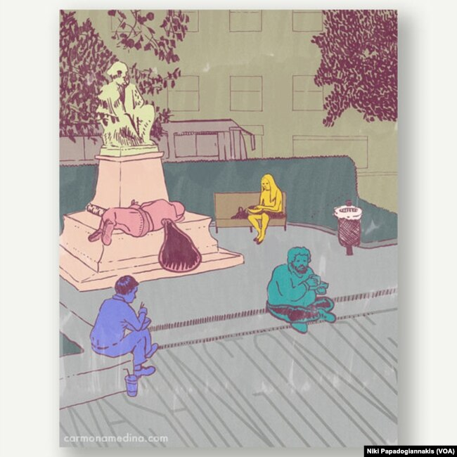 Artist Carlos Carmonamedina's postcard of white collar workers eating lunch at the fountain in DuPont Circle in Washington, D.C.