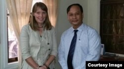 UN Special Rapporteur on the situation of human rights in Cambodia, Rhona Smith and Nay Vongda deputy head of investigation at the rights group Adhoc at the UN Human Rights office on March 21, 2016. (Courtesy Image of Nai Vongda)