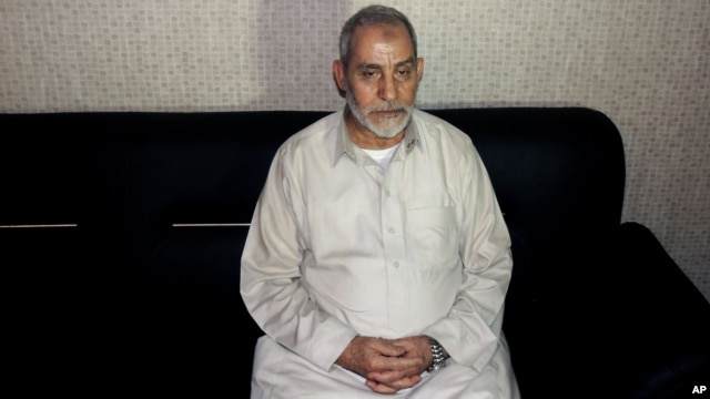 FILE -  Muslim Brotherhood leader Mohamed Badie is seen in a photo released Aug. 20 by Egypt's Interior Ministry following his detention.