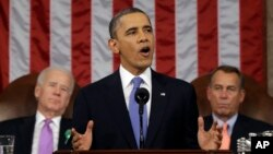 FILE - President Barack Obama, flanked by Vice President Joe Biden and House Speaker John Boehner of Ohio, gives his State of the Union address during a joint session of Congress on Capitol Hil, Feb. 12, 2013.