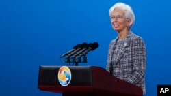 International Monetary Fund Managing Director Christine Lagarde speaks during the Belt and Road Forum for International Cooperation in Beijing, May 14, 2017.
