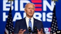 Democratic presidential candidate former Vice President Joe Biden speaks Friday, Nov. 6, 2020, in Wilmington, Del. (AP Photo/Carolyn Kaster)