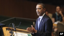 President Barack Obama addresses the 66th session of the United Nations General Assembly at U.N. headquarters, September 21, 2011.