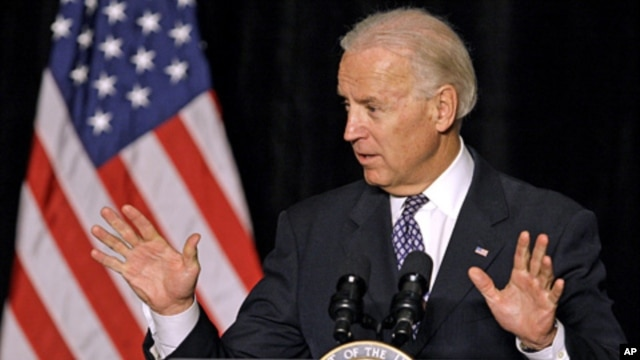 Vice President Joe Biden speaking at the Ohio Newspaper Association convention, Feb. 9, 2012, in Columbus, Ohio.