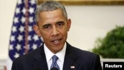 Tổng thống Barack Obama loan báo về thay đổi trong chính sách con tin của Mỹ tại phòng Roosevelt, Tòa Bạch Ốc, Washington, 24/6/2015.