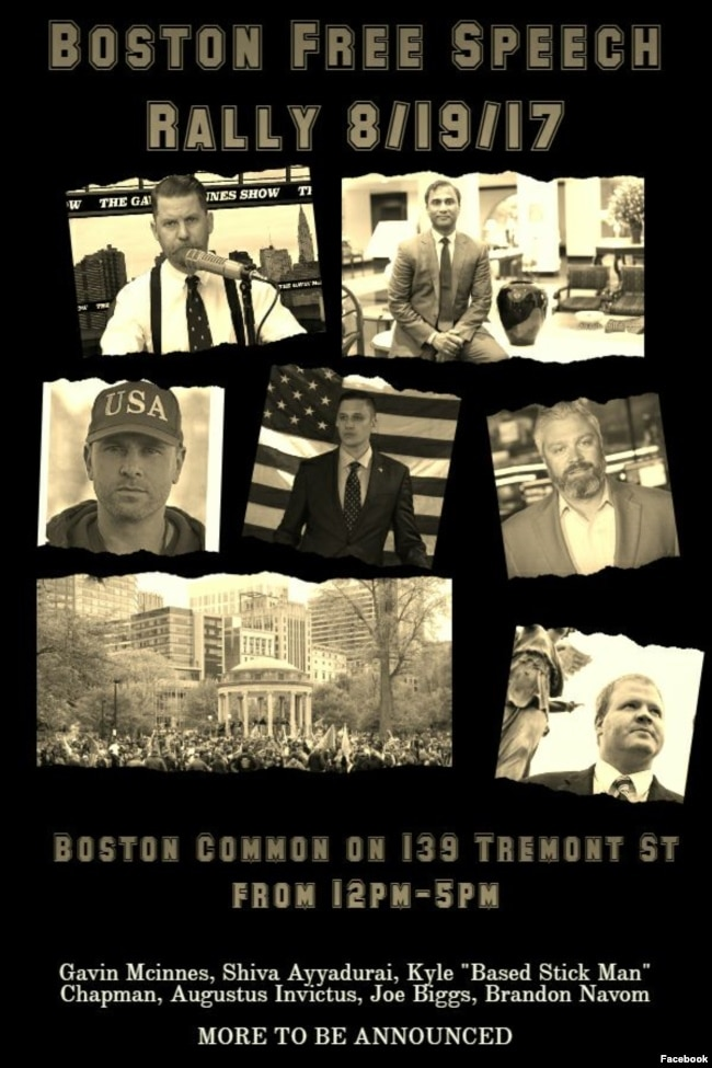 A poster promoting the Aug. 19, 2017 Boston Free Speech rally that was posted to the group's Facebook page.