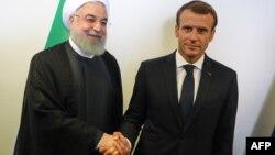 Emmanuel Macron, à droite, et son homologue iranien Hassan Rohani, en marge de l'Assemblée Générale de l'ONU, New York, le 25 septembre 2018.