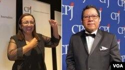 """Lucía Pineda y Miguel Mora, periodistas del informativo nicaragüense """"100% Noticias"""", que fueran galardonados por el Comité para la Protección a los Periodistas (CPJ), el jueves en Nueva York. Foto: Celia Mendoza/VOA."""