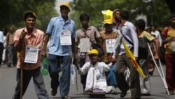 Activists from the National Platform for the Rights of Disabled Persons demonstrate in New Delhi in April 2010