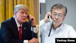 FILE - U.S. President Donald Trump, left, and South Korea President Moon Jae-in are shown in undated photos in this composite image.