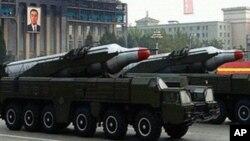 북한 군사퍼레이드에서 공개된 무수단 미사일(자료사진)
