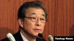 남승우 재일본조선인총연합회 부의장이 26일 일본 도쿄 지요다구 소재 조선총련 중앙본부에서 기자회견을 하고 있다.