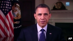US President Barack Obama delivers his weekly address, March 12, 2011