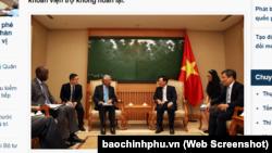 Phó Thủ tướng-Bộ trưởng Ngoại giao Phạm Bình Minh tiếp Điều phối viên Thường trú LHQ tại Việt Nam Kamal Malhotra và Giám đốc Quốc gia của Ngân hàng Thế giới tại Việt Nam Ousmane Dione.