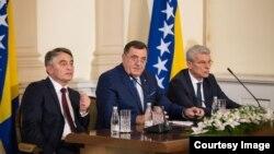 Članovi Predsjedništva BiH Željko Komšić, Milorad Dodik i Šefik Džaferović (Foto: Predsjedništvo BiH)