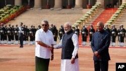 斯里蘭卡總統戈塔巴耶-拉賈帕克薩11月29日出訪印度資料照。